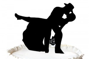 Country & Western Cow Boy Silhouette Wedding Cake Topper