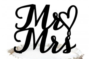 """Mr Love Mrs "" Wedding Cake Topper with Heart"