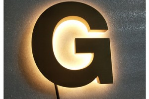 3D logo used outdoor lighted signs Reverse Letters Sign  Metal Faces With Halo Effect Backlit