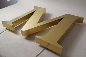 building signage LED illuminated gold letters for wall