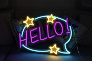 hello neon flex stripe metal letter sign factory custom