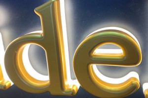 Custom made new design yellow stoving varnish 3D letters and LED Backlit light for interior decoration