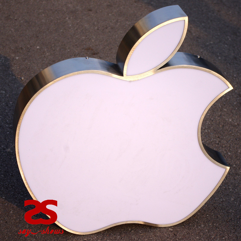 Custom Exterior Illuminated Metal Apple Signs