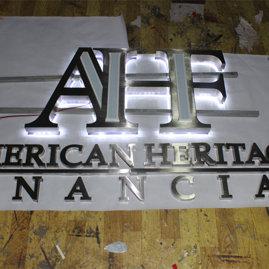LED Reverse Channel Letters with Stainless Steel