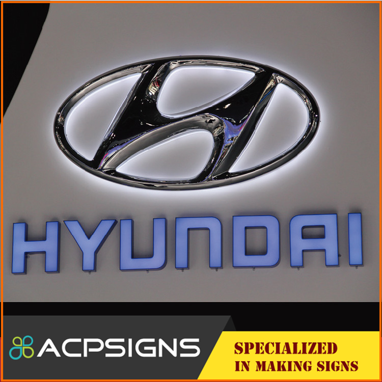 Hight Quanlity Led Glowing Car Logos For Hyundai Acpsigns Signage