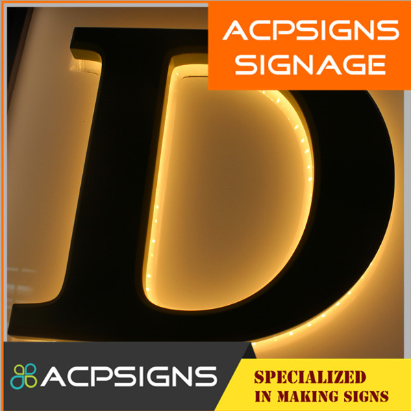 Wall Install Outdoor Acrylic Back Lit Light LED Letter