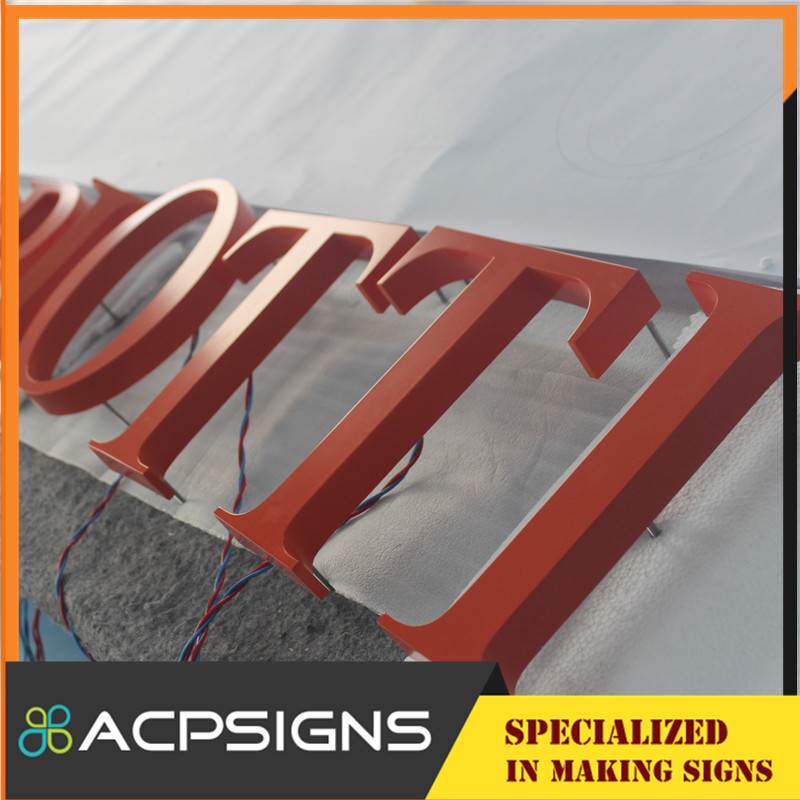 3D Mirror Finished Backlit LED Stainless Steel Signs Metal Letters Logos