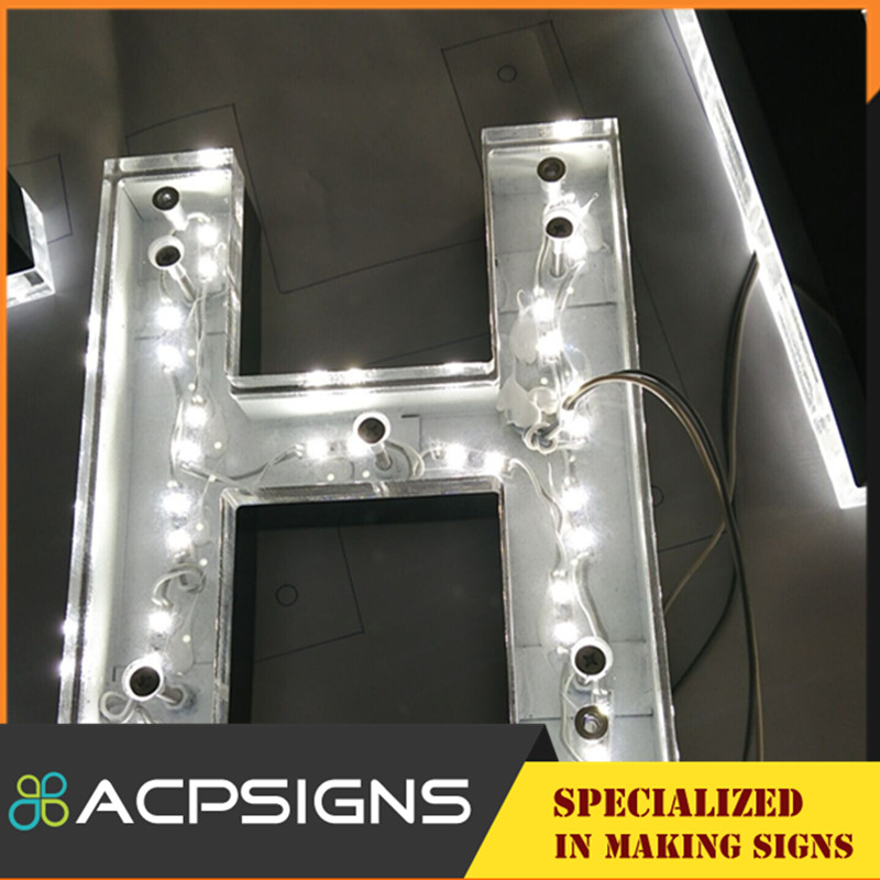 Mirror Polished Letter with Acrylic Backlit LED Sign