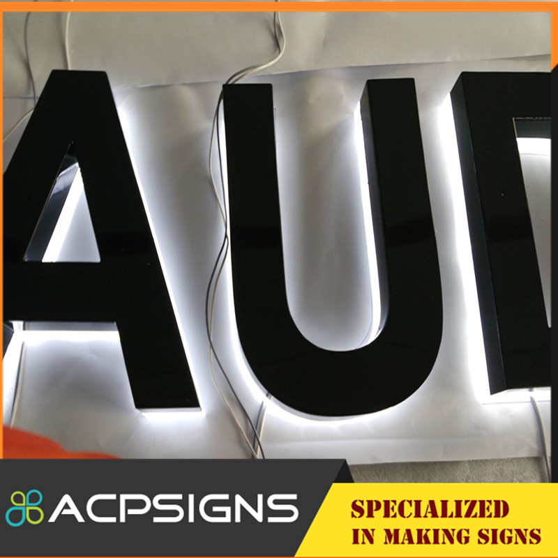 Custom 3D LED Backlit Mirror Steel Letters