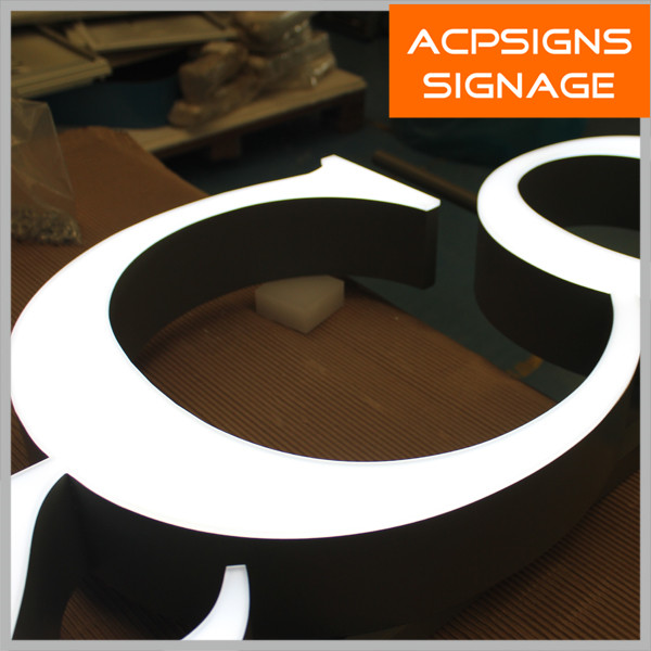 Surface Luminous Acrylic Stainless Steel Letters