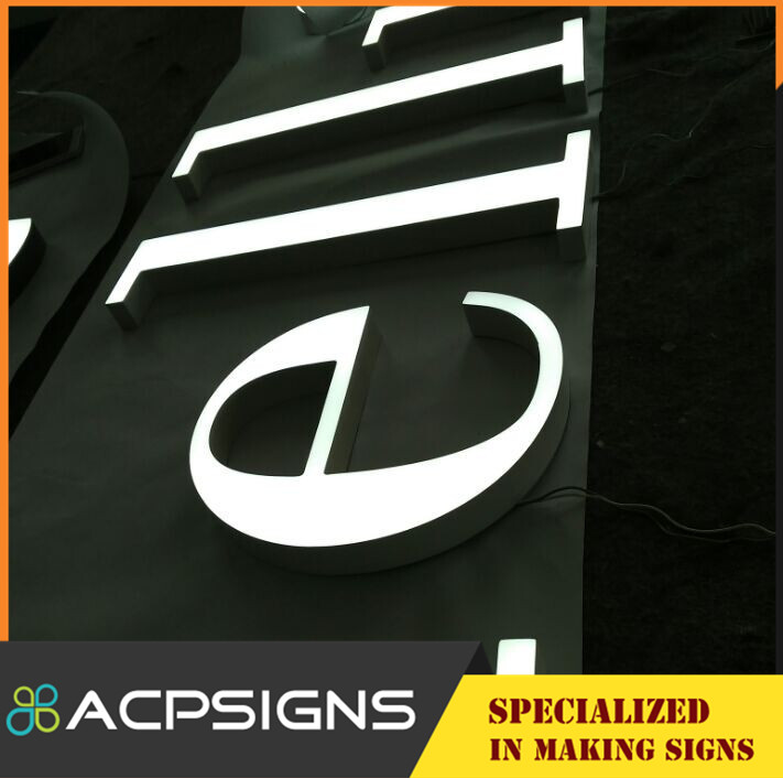 Outdoor Acrylic Face Stainless Steel Return Light Box Letters