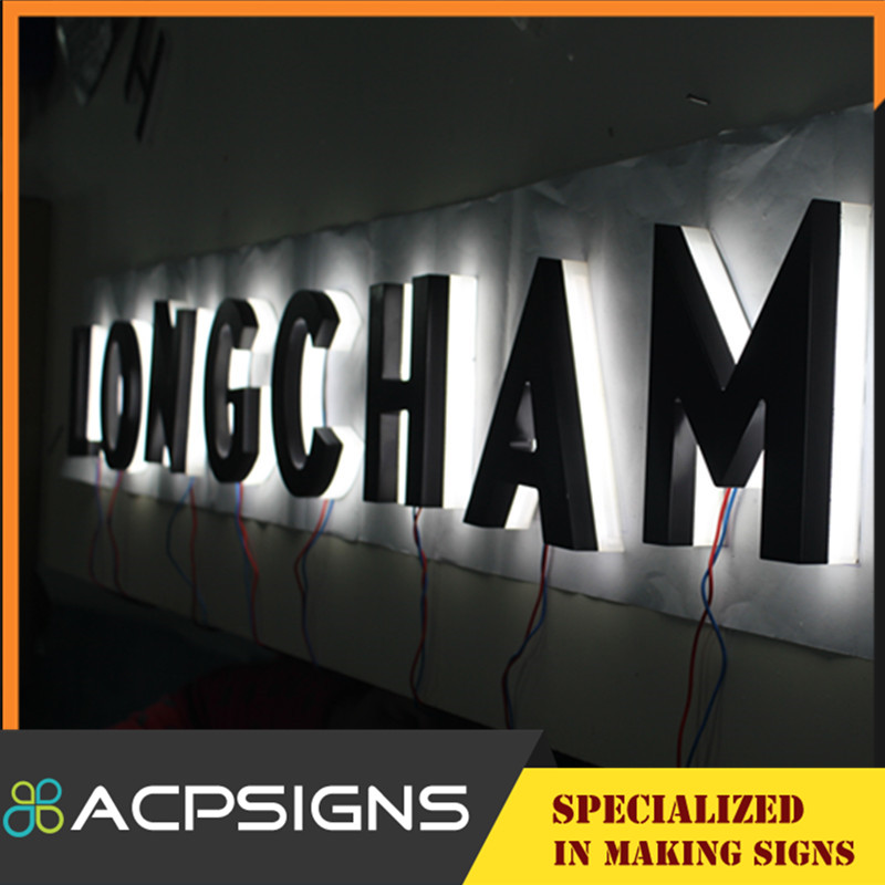 Business Signs 304 Stainless Steel Face and Sides Halo Lit Signs