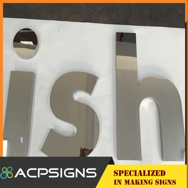 Alphabet Polished Stainless Steel Letters Embossed Metal Letter Sign
