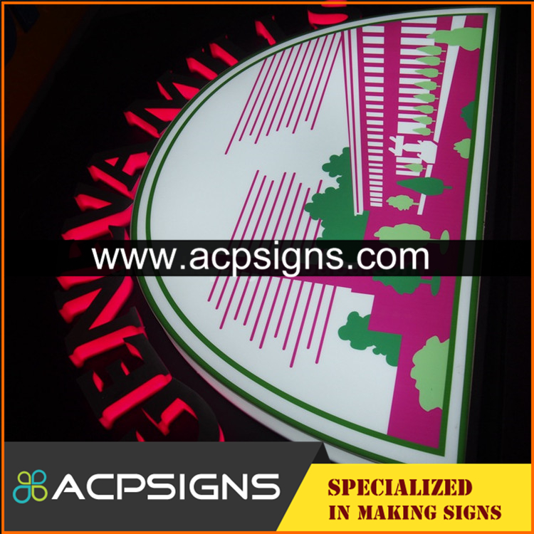 full lighted 3D plastic led acrylic front letter signs