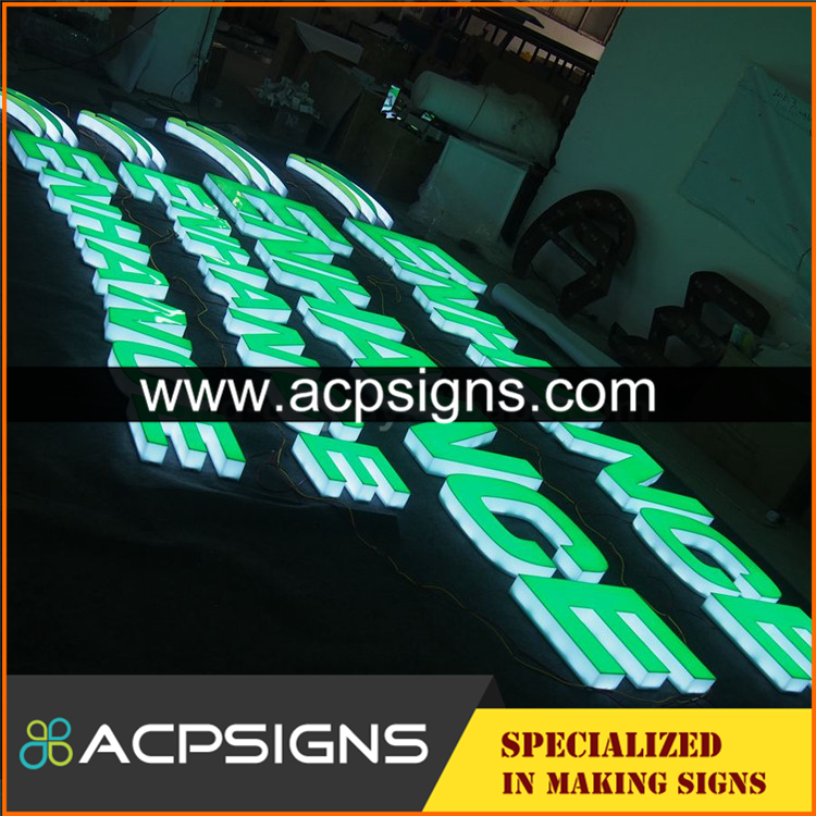 full lighted 3D plastic led small letters sign board