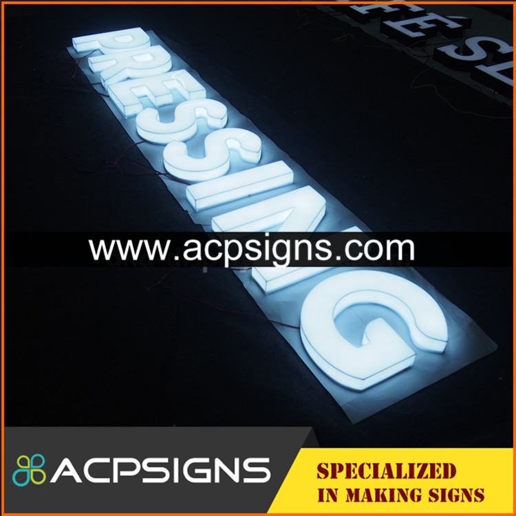 full lighted 3D plastic led front signage acrylic letters