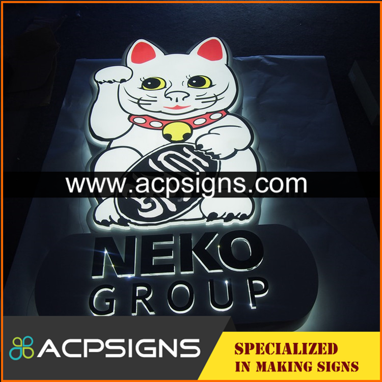 full lighted 3D plastic led acrylic letter signs for advertising