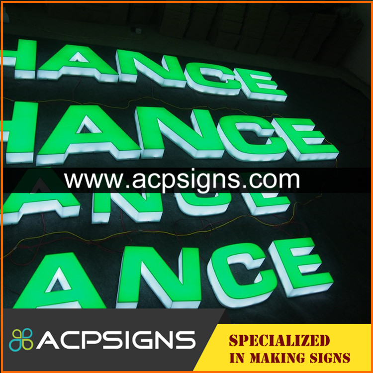 full lighted 3D plastic led outdoor letter light signs