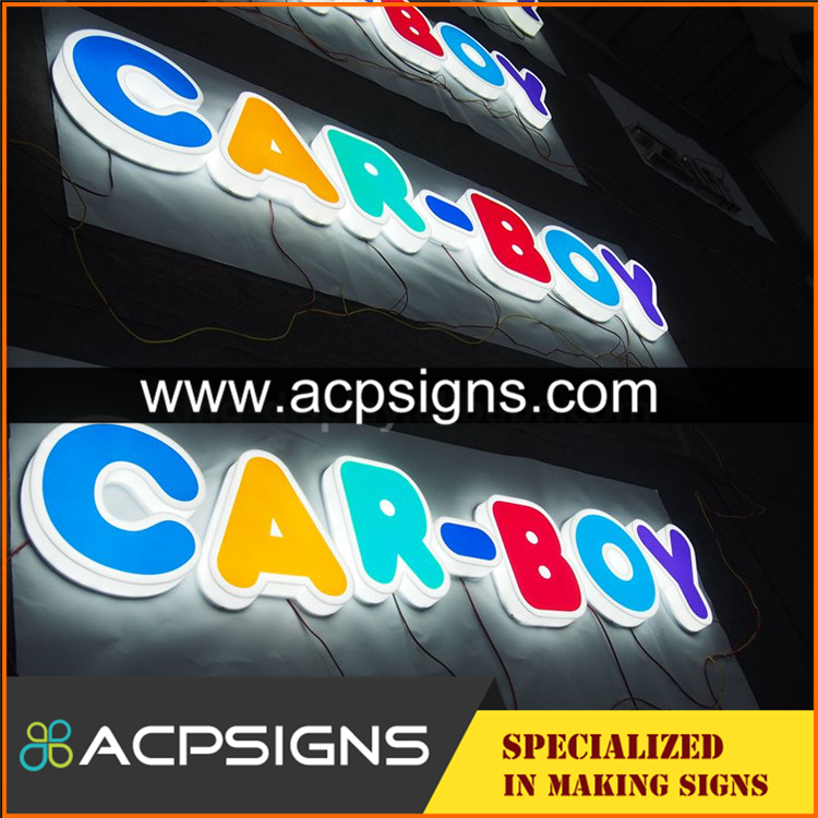 full lighted 3D plastic led RGB color punching letter sign signs