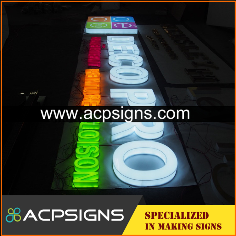full lighted 3D plastic led outdoor large alphabet advertising letter