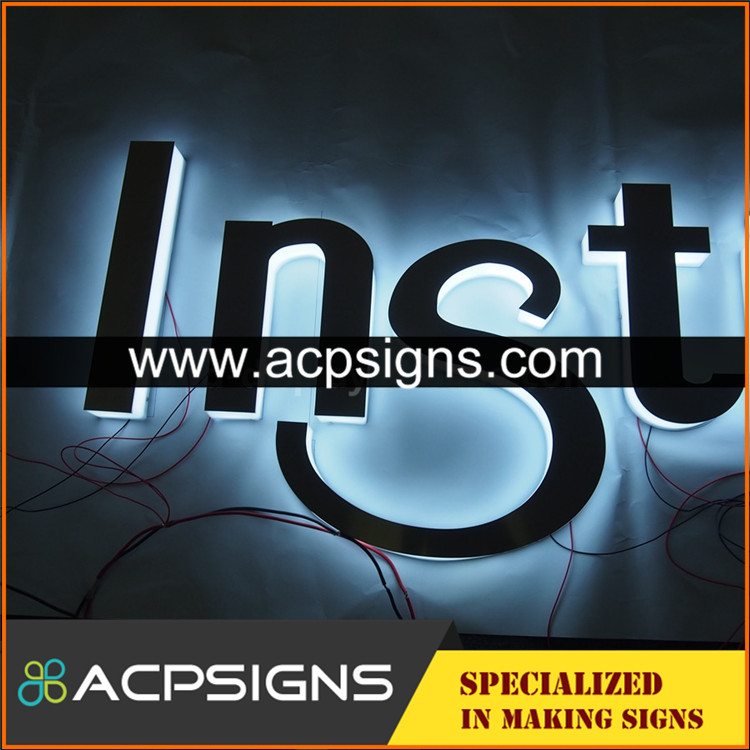 full lighted 3D plastic led sign color and rgb acrylic letter