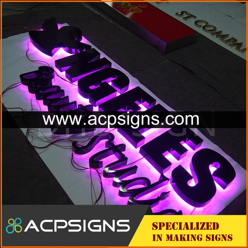 lighted sign letters backlit with brilliant illumination