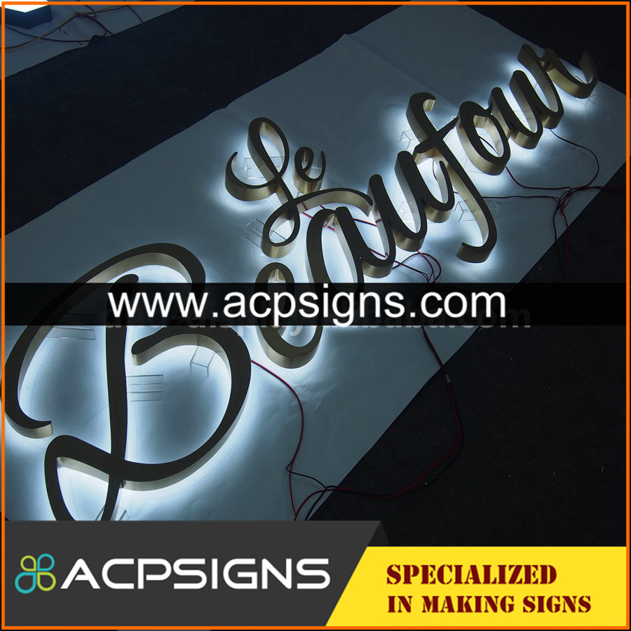 lighted sign letters advertising mirror 3D letter