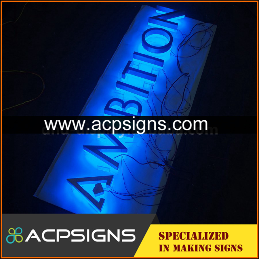 lighted sign letters 304 metal backlit letter