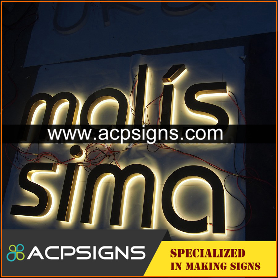 lighted sign letters brushed stainless steel letter 3d