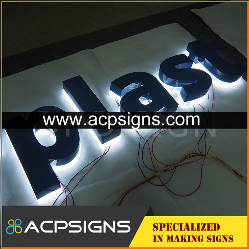 lighted sign letters hot sell brushed metal