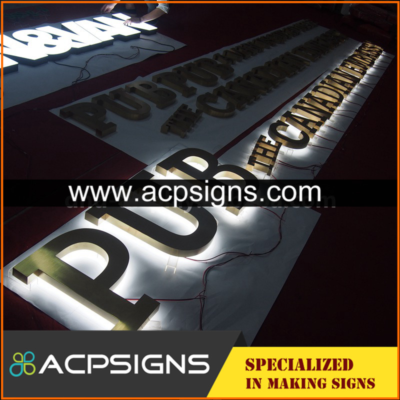 lighted sign letters stainless steel acrylic 3d letter