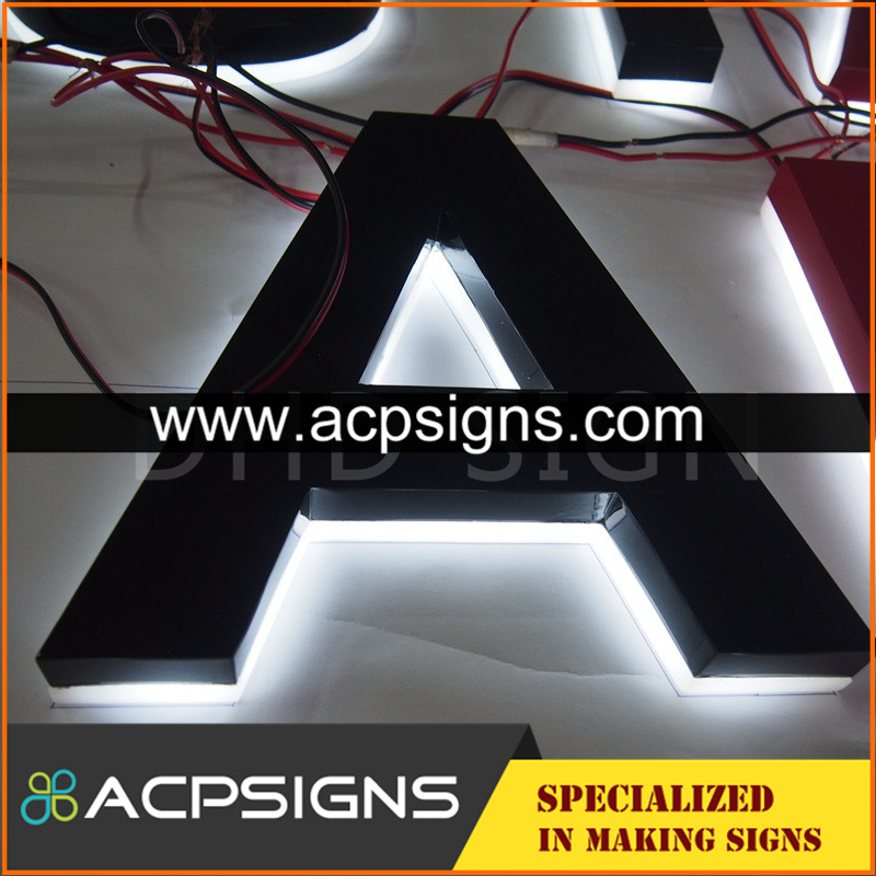 lighted sign letters laser cutting stainless steel LED backlit letter