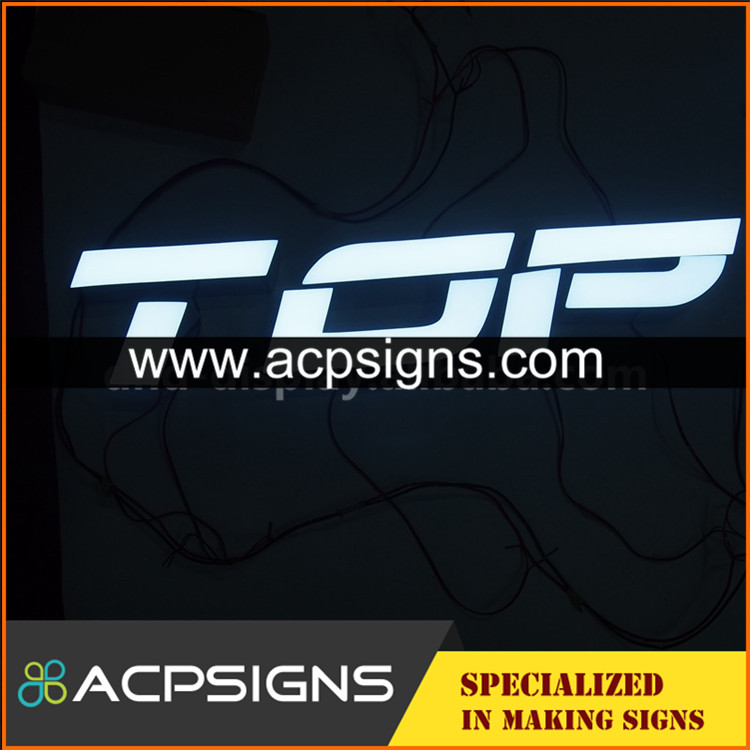 led sign acrylic alphabet letter black metal side frontlit
