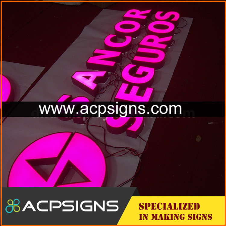 led sign acrylic alphabet letter front stainless steel outdoor