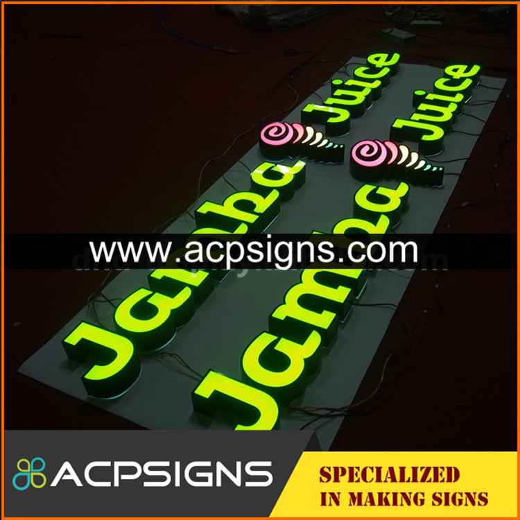 Your Custom acrylic facade lighting halo lit led letter sign with good price