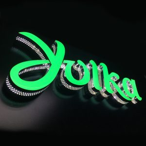 Green Color Custom Epoxy Resin Frontlit Channel Letters Sign