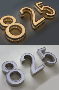 LED Illuminated Door Light Metal Numbers and Letters