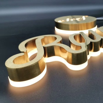 Stainless sign Back lit Letter Logo led backlit outdoor signage