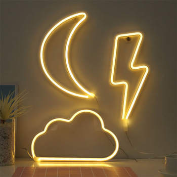 12v Custom Made Handmade Flexible Dimmable Coffee Smile Face White Cloud Changeable Led Neon Sign