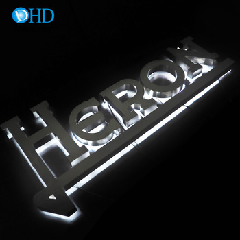Waterproof back side lit LED light 3d wooden letters acrylic exit sign aluminum office sign in 316 brush stainless steel finish