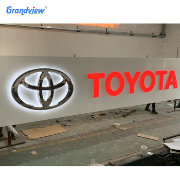 Custom metal face aluminum led sign backlit chrome 3d car logo