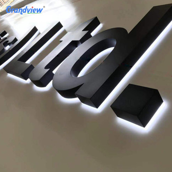 store custom outdoor logo 3d backlit led metal stainless steel signage