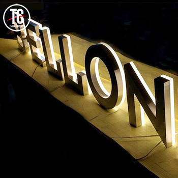 Wall mounted Mirror 3D Stainless Steel Letter Sign Led Signage for Company Office