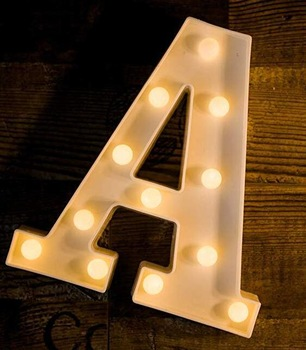 LED Letter Lights Sign 26 Alphabet Light Up Marquee Letters Sign for Night Light Wedding Birthday Party Battery Powered