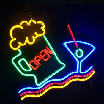 beer ship open neon 3d sign letters custom design acrylic led 3d lighting competitive neon outdoor led signs prices