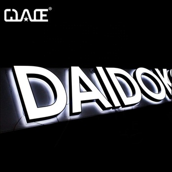 Outdoor wall mount shop signage 3D acrylic frontlit sign letters Led back glow letters sign