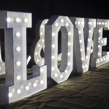 High Quality Lighted Sign Love Letter large giant letters vintage marquee lights for Wedding