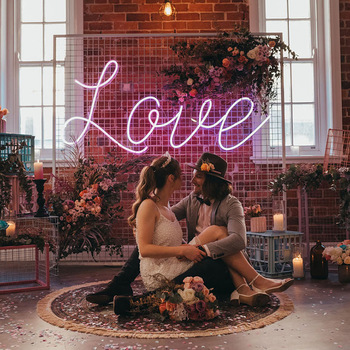pink wedding love wall acrylic glass ip68 flexible silicone tube Letters neon sign led flex neon light