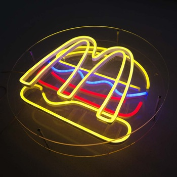 led flex neon letters rgb led light source Burger custom made led neon hamburger sign neon light signs