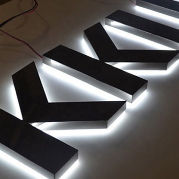 Stainless Steel letters Backlit LED Sign LED Channel Letter for Front Name Sign With halo lighting effect